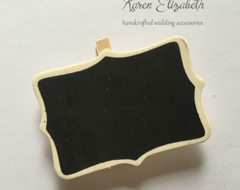 Mini Chalkboard Clip, Blackboard with Peg, Wedding Decor, Party Supplies, Rustic, Decorations, Place Holder, Table Number, 5pcs, KE230