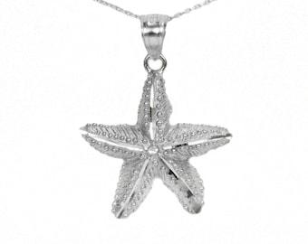 10k White Gold Starfish Necklace
