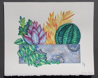 """Original Watercolor Art/ Succulents Wall Decor/ Painting 8""""x10""""/ Gift for Women/ Gift for Mother"""