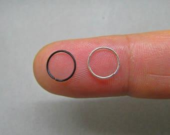 Sterling Silver 9,25 Nose Rings - inner diameter 8mm & 10mm - Slim Nose Hoop -Thin Nose Ring - Thin Nose Hoop - Nose Piercing