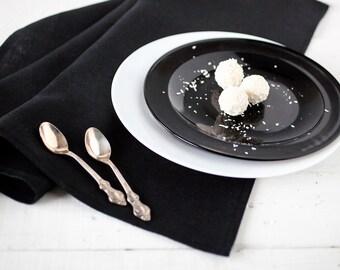 Black table runner - Halloween table decor - Black linen runner -  Linen table top - Housewarming gift