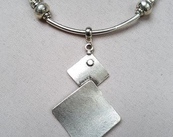 leather and silver bib necklace