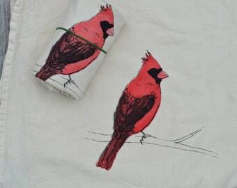Tea Towel, Screen Printed Flour Sack Towel, cardinal,bird, handmade, eco-friendly, kitchen towel, dish towel