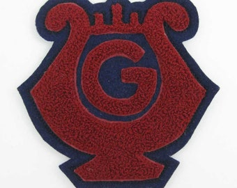"""Vintage Large Chenille Letterman Jacket Band Music Patch """"G""""  Red & Blue"""