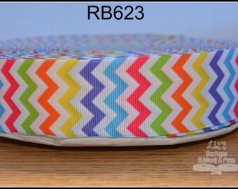 """1.5"""" multi colored rainbow chevron, 3yds, grosgrain ribbon, hair bow supplies, scrapbooking supplies, hair bow supply, scrapbooking"""