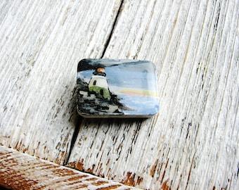 Strand Leuchtturm Magnet, Hand bemalt, Magnet, minimalistischen Kunst, Natur-Magnet, Beach House Decor, Hand bemalt Kühlschrank Kunst, Kühlschrank-Magnet