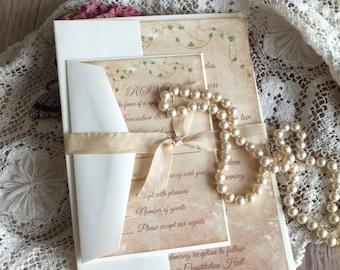 Romantic Vintage Rose and Ivy Handmade Wedding Invitation SAMPLE by avintageobsession on etsy