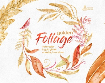 Golden Foliage. Wreaths & Branches. Watercolor floral clipart, leaves, autumn, fall, wedding, bridal, red, glitter, planner, minimalistic