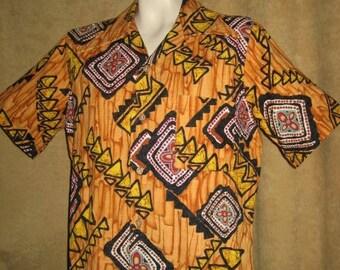 Mens Barkcloth Hawaiian Shirt M 60s Vintage