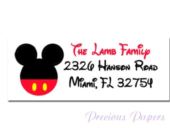 Personalized Mickey Mouse return address lables Mickey Mouse stickers