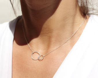 Mothers - sterling silver necklace 925 Silver - lined circles symbol of infinite love - gift best friend, sisters - infinity