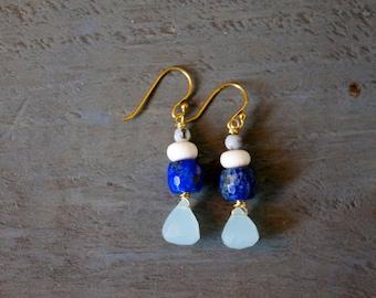 Chalcedony Teardrop, Lapis, River Rock and Amazonite Earrings