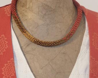 Cranberry & Gold necklace (shorter length)
