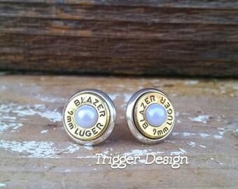 9mm Caliber Bullet Casing Post Earrings- White Pearl