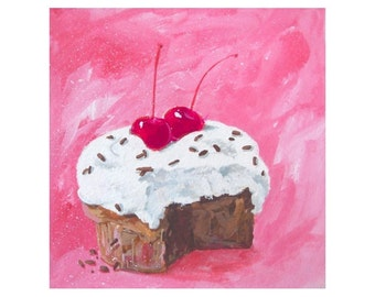 Original Mini Painting * DOUBLE CHERRY CUPCAKE * Art By Rodriguez * Dessert Series * Small Art Format