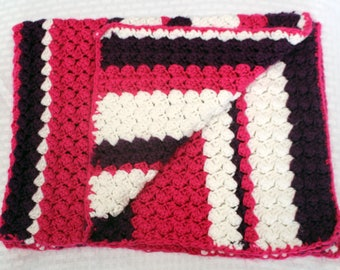 Crochet Baby Blanket, Pink, Purple and White