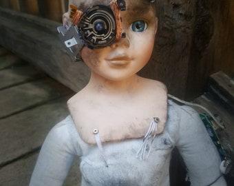 Cyborg creepy doll, robot, ooak, sci-fi