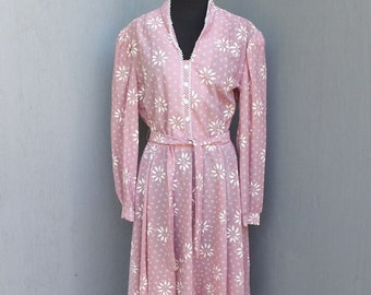 Vintage 1980s Pink Day Dress, F & F, Size 16, Secretary, Career or Academia, Summer Fashion,
