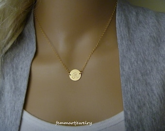 Gold or Silver Disc Necklace - Monogram Necklace - 14kt gold filled or 925 sterling silver - Gift for Bridesmaids