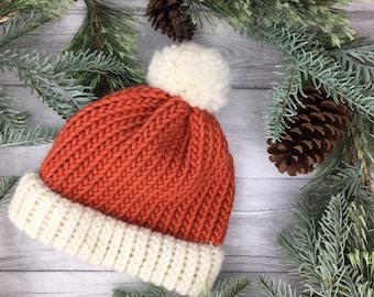 Burnt orange hat, knit accessories, beanie hat, chunky knit hat, mens beanie, women beanie, fisherman hat, bobble hat, merino wool hat, UK