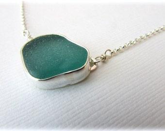 Sea glass necklace. Sterling silver necklace. Bezel sea glass. Maine jewelry. Sea glass pendant. Sea glass jewelry. Beach glass necklace
