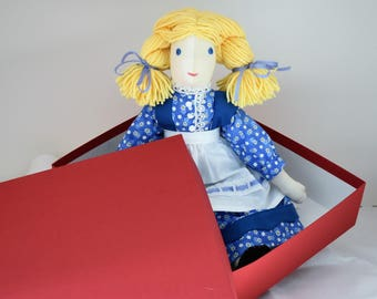 Handmade Soft Doll, Colonial Style, with Blonde Braids