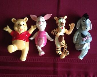Vintage Disney Ceramic Wall Hangers Winnie The Pooh Tigger Piglet Eeyore