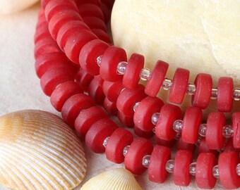 36 Sea Glass Heishi Beads - Cultured Seaglass Beads - Jewelry Making Supply - Heishi Spacer Beads - 9x3mm - Opaque Dark Red