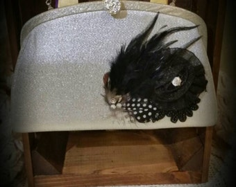 After Life Accessories: repurposed vintage silver clutch purse with Black Accents