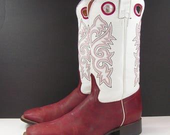vintage buckaroo cowboy boots mens 11 D plum red white leather western work farm