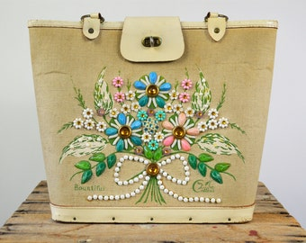 Vintage Enid Collins Purse Large Tote with Jeweled Flowers Bountiful Canvas and Leather Handbag Shoulder