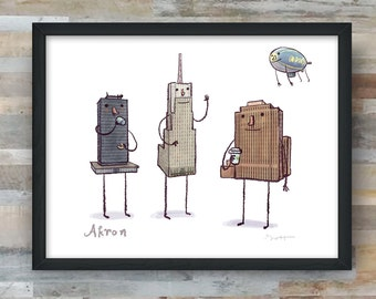 Akron skyline art print