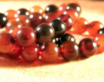 2 10 mm - AG103 Amber Brown agate bead