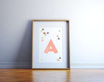 Personalized Kids Name Art Custom Sign Girl or Boy Alphabet Name Childrens Room Decor with Peach Sage and Grey Triangles