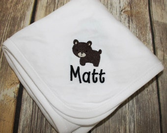 Personalized Bear Baby Blanket, Monogrammed Bear Baby Blanket, Bear Baby Blanket, Bear Receiving Blanket