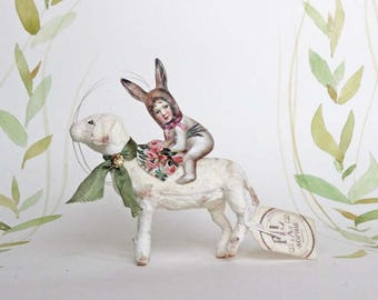 Easter Spun cotton lamb with bunny ornament