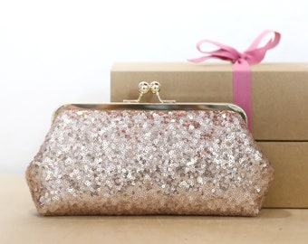 Rose Gold Sequins (small glossy) Tulle Clutch | Bridesmaids | Mother's Clutch