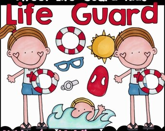 Sweet Lifeguard Kids Clipart Collection- Immediate Download