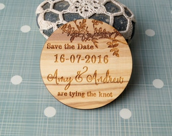 Wooden Save the date magnet, wedding save the dates, rustic save the date, wood magnet, personalized save the date magnet, Your wood choice