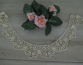 FREE SHIPPING Antique Vintage Reticella Lace Collar Trim Handmade Italian Lace
