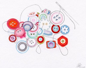 Colorful Sewing Buttons, Watercolor Reproduction, 8.5x11 archival print