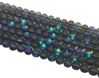 1Full Strand Matte Mystic Aura Quartz Round Beads, 8mm 10mm Aura Quartz,Holographic Quartz For Jewelry Making