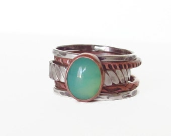 Green CHRYSOPRASE OVAL,Mixed Metal, Stack Ring, Rustic stack Ring,Hammered Ring, Silver and Copper Stack Ring, boh ring,Oxidized Ring