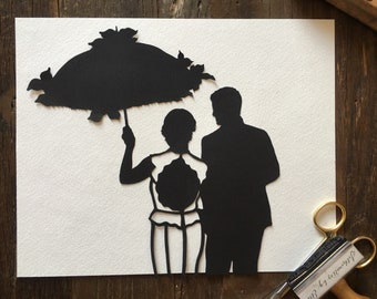 1st Anniversary Present - First Anniversary Paper Gift - 11 by 14 Custom Wedding Portrait - Silhouette Family Picture - Bridal Gift