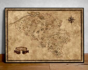 Fantasy Map of Belgium, Wall decor fantasy gift, Fantasy map gift, Old Map gift, Vintage Belgium, Belgium Poster, Fantasy poster