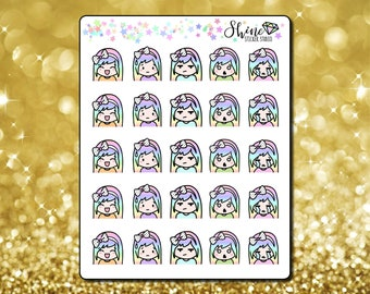 Luna Expressions Stickers - Planner Stickers Erin Condren Life Planner Cute Character Girl Mood Emoji Stickers ECLP Stickers Happy Planner