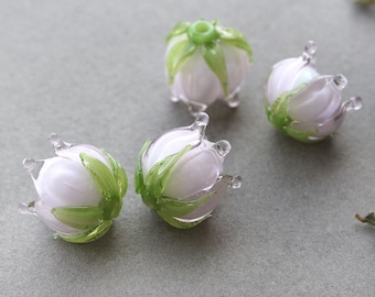 Lampwork Beads, Glass Flower Beads, Flower Beads Made to order
