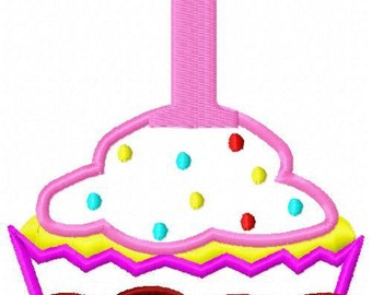 Cupcake with birthday number Applique Embroidery Design