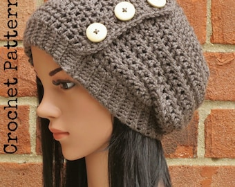 CROCHET HAT PATTERN Instant Pdf Download - Hadley Slouchy Button Beanie Hat Womens Teen Fall Winter- Permission to Sell English Only