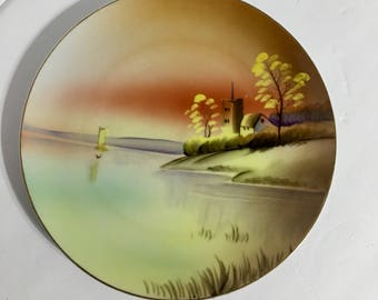 Vintage Nippon Hand Painted Plate Boat